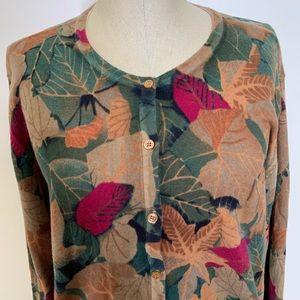 Bechamel Woman Cotton Leaf Print Sweater